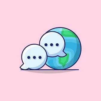 Illustration der globalen kommunikation des internationalen geschäfts mit globe earth und kommunikationsblase