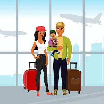 Illustration der glücklichen familie, die zusammen reist. vater mutter und sohn mit gepäck am flughafen im cartoon-stil.