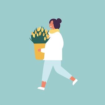 Illustration der glücklichen frau, die frühlingssaisonkleidung trägt. junges mädchen, das mit tulpenblumen geht.