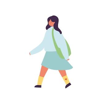 Illustration der glücklichen frau, die frühlingssaisonkleidung trägt. junges mädchen zu fuß.