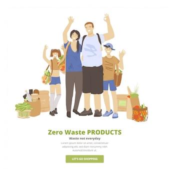 Illustration der glücklichen fröhlichen familie des mannes, der frau und der zwei kinder, umarmend, winkende hände, ok-zeichen zeigend und zero waste ecological products in wiederverwendbaren taschen haltend. öko-familienkonzept