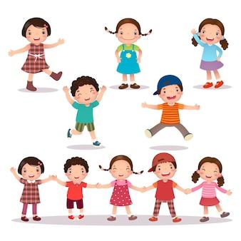 Illustration der glücklichen kinderkarikatur, die hände hält und springt