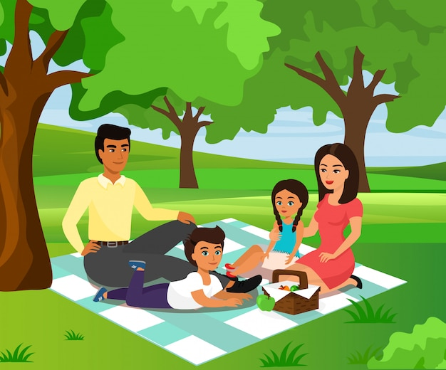 Illustration der glücklichen und smiley familie auf einem picknick. vater, mutter, sohn und tochter ruhen im naturhintergrund in einem e.