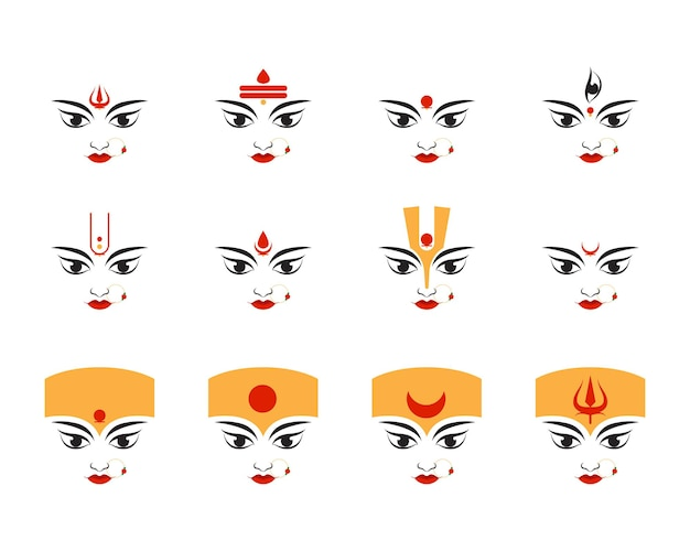 Illustration der göttin durga gesicht symbol glücklich durga puja subh navratri