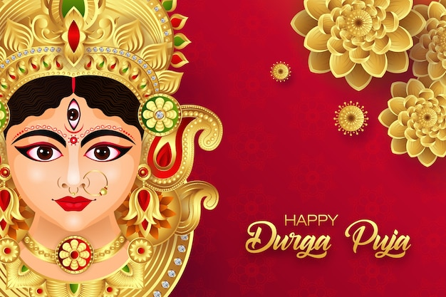 Illustration der göttin durga im happy durga puja festival