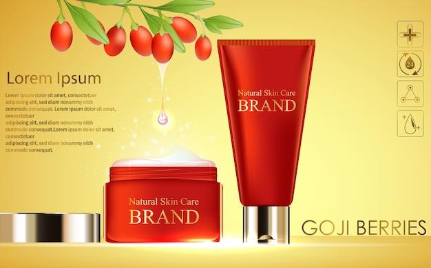 Illustration der goji-beerenextrakt-kosmetikschablone