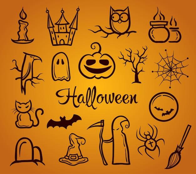 Illustration der grafischen retro-zusammensetzung mit halloween-elementen