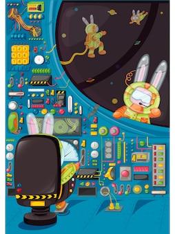 Illustration der gruppe des kaninchen-piloten. hasenastronauten steuern die rakete im weltraum.
