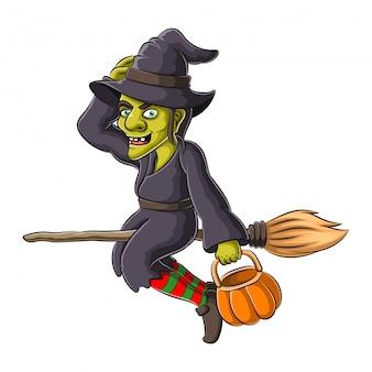Illustration der halloweenhexe, die auf besen fliegt