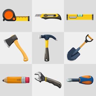 Illustration der hand bunten niedlichen reparaturwerkzeuge gesetzt lokalisiert auf weißem hintergrund