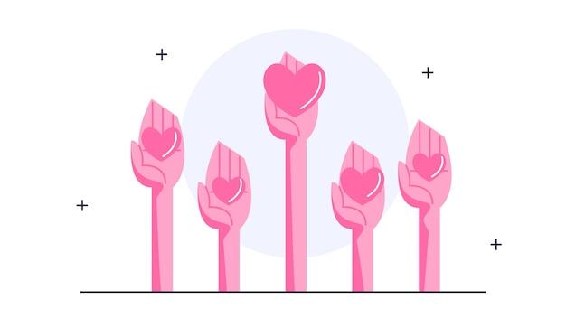 Illustration der hand, die ein angehobenes herz hält. konzept der freiwilligenarbeit, spender werden. gruppe von menschen, die ihre hände hochhalten, um zu helfen