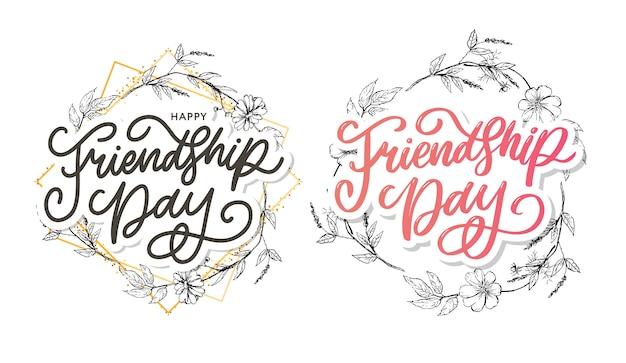 Illustration der hand gezeichneten glücklichen freundschaftstag glückwunsch im modestil mit beschriftungstextzeichen und farbdreieck für schmutzeffekt auf weißem hintergrund