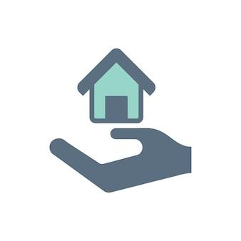 Illustration der hand unter dem haus für immobilienikone