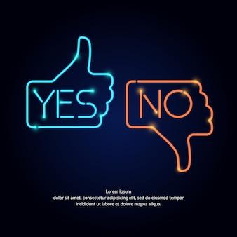 Illustration der handabstimmung mit ja und nein im neonstil, geeignet für website-design