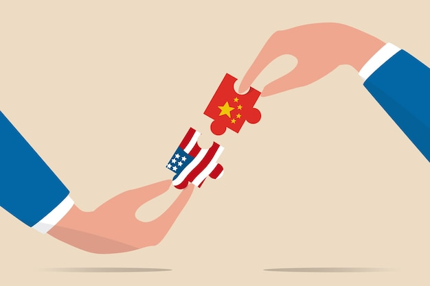Illustration der handelsverhandlungen der vereinigten staaten und chinas