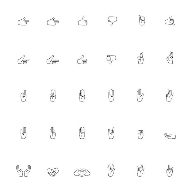 Illustration der handgeste stellte in dünne linie ein