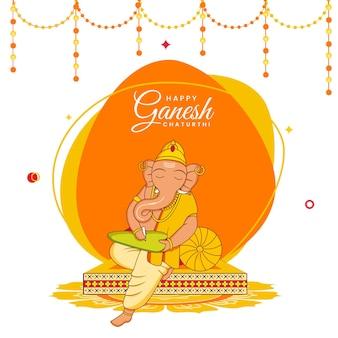 Illustration der hinduistischen mythologie lord ganesha, die auf blatt für glückliches ganesh chaturthi-feierkonzept schreibt.