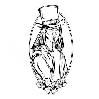 Illustration der hübschen frauen im heiligen patrick mit rahmen