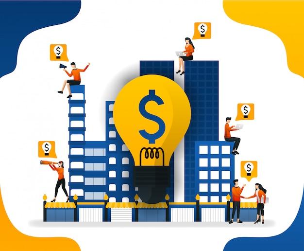 Illustration der idee, die stadt mit lichtern beleuchtet, um mehr geld zu erhalten