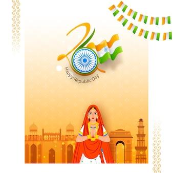 Illustration der indischen frau, die namaste tut (willkommen)
