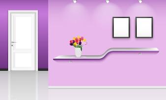 Illustration der Innenarchitektur mit purpurrotem Wandhintergrund