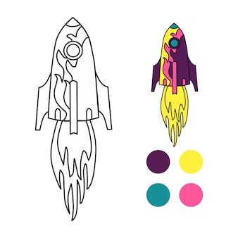 Illustration der isolierten bunten und schwarzen und weißen rakete für malbuch.