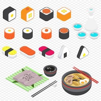 Illustration der japanischen lebensmittel-grafik in isometrischen 3d-grafik