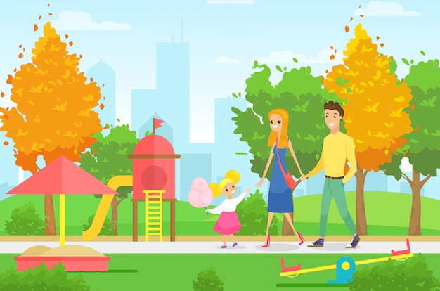 Illustration der jungen familie mit kind und hund, die im park mit spielplatz gehen. eltern mit tochter und hund im sommerpark mit stadtlandschaft im karikaturstil.