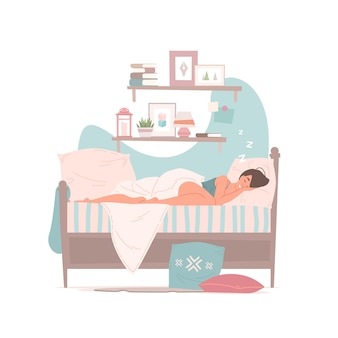 Illustration der jungen frau im pyjama, die friedlich auf weichem bett schläft