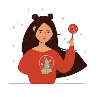 Illustration der jungen frau mit lutscher und glaskugel im weihnachtsstil