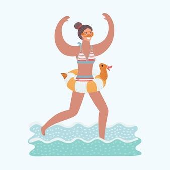 Illustration der jungen freudigen frau, die im meerwasser mit tauchmaske auf ihrem gesicht und tauchrohr in seiner hand läuft. aufblasbarer ring aus gummiente an ihrer taille