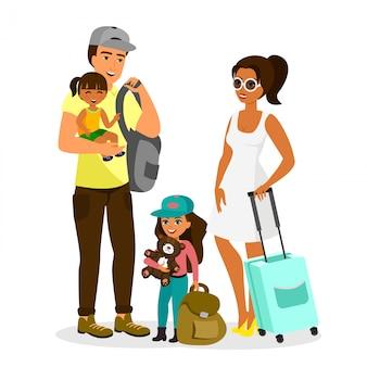 Illustration der jungen glücklichen familie mit reisenden kindern. vater, mutter, sohn und tochter stehen zusammen mit taschen im flachen stil auf weißem hintergrund.