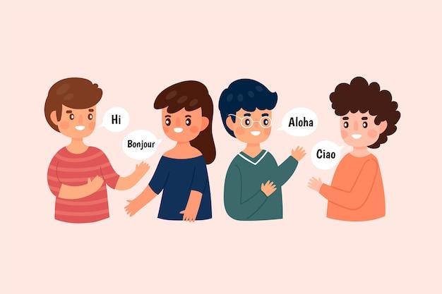 Illustration der jungen leute, die in den verschiedenen sprachen eingestellt spricht