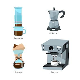 Illustration der kaffeebrühmethoden