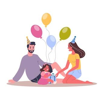 Illustration der kindergeburtstagsfeier. eltern stufen ihr kind ein. glückliche familie feiern einen geburtstag.