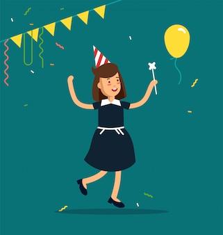 Illustration der kinderparty. lustiger mädchencharakter, der mit partyhüten, konfetti, luftballons springt. alles gute zum geburtstag feiern party.