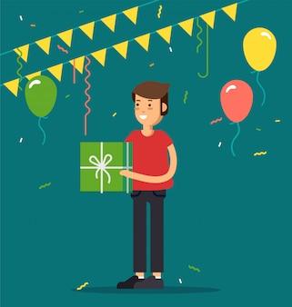 Illustration der kinderparty. lustiger mädchencharakter mit partyhut, der geschenkboxen, konfetti, luftballons hält. alles gute zum geburtstag feiern party.