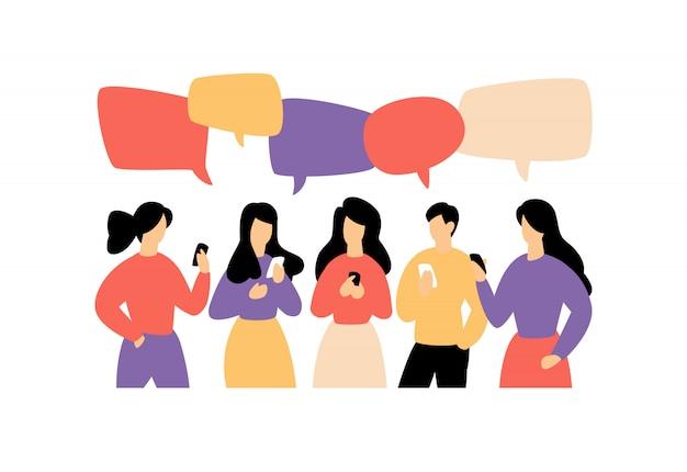Illustration der kommunizierenden menschen