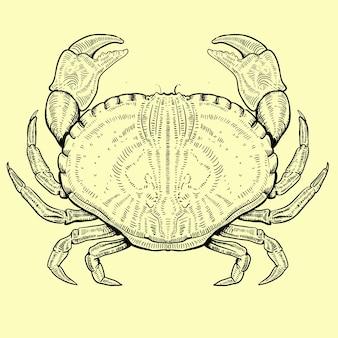 Illustration der krabbe im gravierten stil