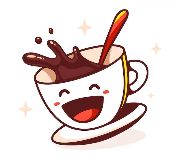 Illustration der lachenden tasse kaffee mit löffel auf weißem hintergrund.