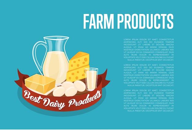 Illustration der landwirtschaftlichen produkte mit textschablone mit molkereizusammensetzung