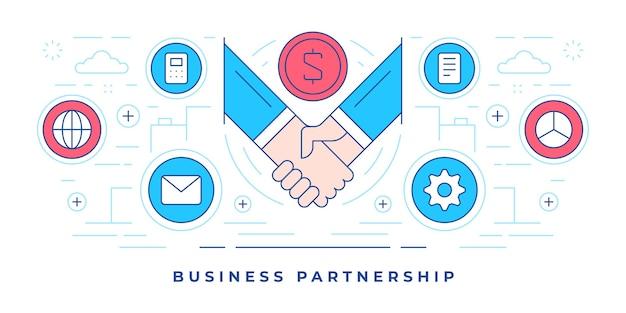 Illustration der linie flaches banner der grafischen symbole um handshake-symbol