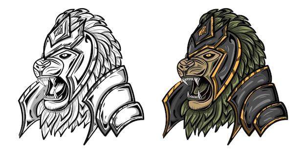Illustration der löwenkriegerzeichnung mit skizze und voller farbe für plakat- oder hemdentwurf