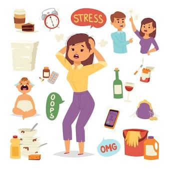 Illustration der lustigen brünetten gestressten frau mit ihren händen auf dem kopf und weit geöffnetem mund kopfschmerzen müde weibliche figur.