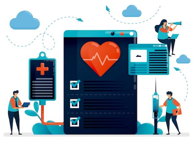 Illustration der medizinischen kardiologie check-up für die gesundheit. krankenhaus, klinik, labor zur diagnose und behandlung von herzerkrankungen
