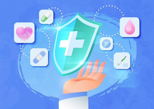 Illustration der medizinischen krankenversicherung mit der hand des arztes, die einen medizinischen schutzschild hält