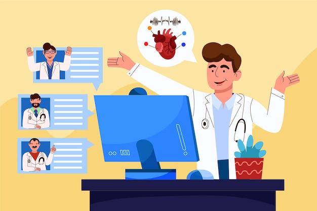 Illustration der medizinischen online-konferenz der karikatur Kostenlosen Vektoren