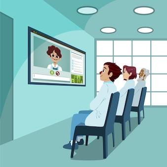 Illustration der medizinischen online-konferenz der karikatur