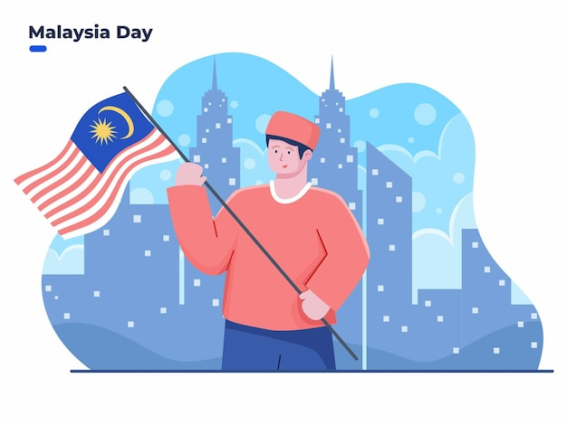 Illustration der menschen, die am 16. september den malaysia-tag oder den tag der malaysischen föderation feiern