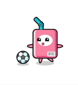 Illustration der milchbox-karikatur spielt fußball, niedliches design für t-shirt, aufkleber, logo-element